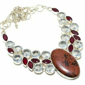 """Mahogany Obsidian, Ruby Ethnic 925  Silver Jewelry Necklace 18"""""""