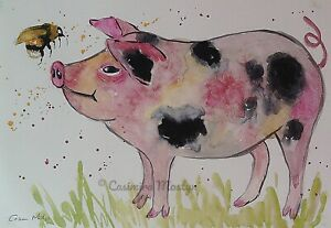 """Greeting card Pig & Bumble bee """"Let's Bee Friends""""  7"""" by 5""""  By casimira Mostyn"""