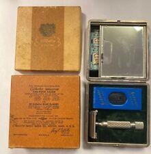 1950 Vintage Gillette Executive Safety Razor w/ Original Case, Box, & Blades