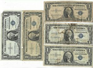 Rare Old Vintage US 1935 1957 Blue Seal Silver Dollar Collectible Collection Lot