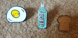 Novelty Enamel Pin Badges Toast Egg Gin