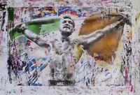 "Mr Brainwash Print on Canvas Graffiti art wall decor Connor McGregor Flag 28x40"""