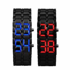Stylish LED Digital Date Lava Faceless Iron Bracelet Samurai Watch Mens Ladies