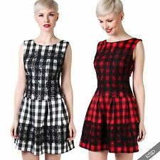 Checked Skater Short/Mini Sleeveless Dresses for Women