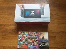 NEW Nintendo Switch 32gb Gray Console w/ Zelda+Odyssey+Kart 8 bundle system lot