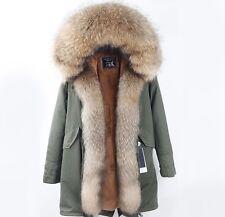 Women's Winter Fur Coat Jacket Parka W/ Genuine Raccoon Fur Hood & Zipper Trims