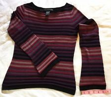 Geoffrey Beene Silk Cotton Top Long Slv Boat Neck Red Purple Black Stripe Small