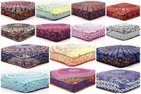Mandala Square Floor Pillow Cover Hippie Ottoman Cushion Cover Home Usage Daybed