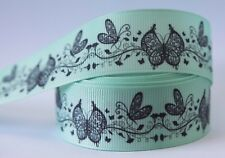 1M X 25mm Grosgrain Ribbon Craft DIY Cake Decoration Hair Bow - Butterfly Mint