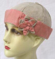 Vintage Ladies Hat Pink Tan Cotton Linen Cap with Flower 1940s