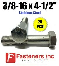 "(Qty 25) 3/8-16 x 4-1/2"" Stainless Steel Hex Cap Screw / Bolt 18-8 / 304"