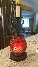 Cranberry red hobnail glass lamp