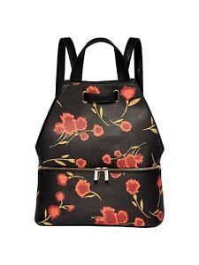 Modalu Harriet Black Flower Print Faux Leather Backpack Handbag Shoulder Bag NWT