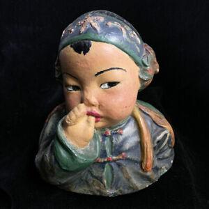 "1920s Florence Johnson chalkware bust of ""Baby Thumbsucker"" genre of Esther Hunt"