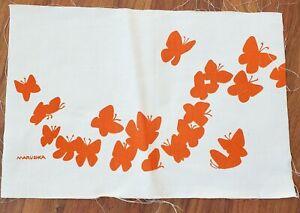 "Vtg Marushka Screen Print Textile Orange Butterflies 19.5""x 13"" Unframed"