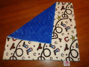 Cowboy Baby Security Blanket boots hat rope plush Blue Minky Dot The Bib Shoppe