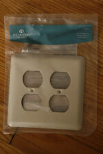NEW Bisque Stamped Steel Wall Plate Brainerd Double Duplex Wall Plate 64070