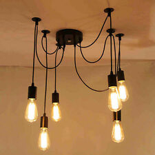 6-12 Vintage Industrial Ceiling Lamp Edison Light Chandelier Pendant Lighting