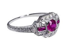 Wunderbarer Art-Deco Ring mit Rubinen und Diamanten, RG 57