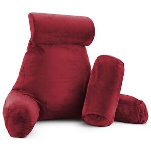 Large Soft Foam Reading & TV Relax Pillow +2 Neck & Lumbar Pillows, with Pockets