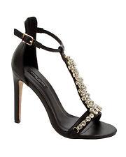 Negro De Mujer Diamante De Noche de Fiesta de Baile de Graduación de Boda Sandalias Zapatos Damas Tallas 3-8