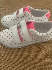 New Girls Mini Boden Pink White Leather Star Sneakers Size 12.5
