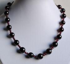 Halskette mit glatt polierten Granat Steinen, Edelstein Kugelkette mit Granaten
