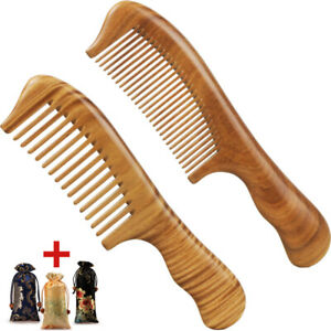 Premium Hair Combs Wood Comb Green Sandalwood Handcrafted Sturdy Smooth NoStatic