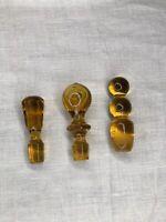 Vtg Blenko Imperial MCM Glass Decanter Amber Stoppers Set