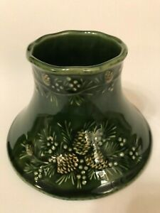 Large Yankee Candle Shade Dark Green with Embossed Pinecones
