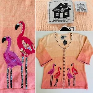 *NEW* Storybook Knits Pink FLAMINGO SUNSET Sz LARGE Sweater Cardigan Front NWT