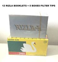 600 RIZLA SILVER ROLLING PAPERS & 600 SWAN EXTRA SLIM FILTER TIPS ORIGINAL