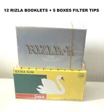 NEW 600 RIZLA SILVER ROLLING PAPERS + 600 SWAN EXTRA SLIM FILTER TIPS ORIGINAL