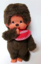 """Monchhichi Brown Monkey Baby  Sekiguchi Sucks Bottle Red Bib 7"""" Great Vintage"""