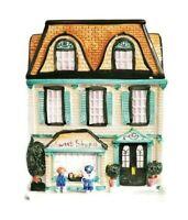 "Sherwood Cookie Jar Sweet Shop Victorian House Building Ceramic Green 10""x7.75"""