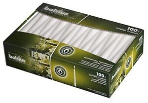 Bolsius Tapered Dinner Candles - 10 Inch - 100 Pack - White