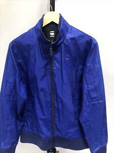 Mens G-Star Raw Nancor Vest L/S Blue Lightweight Summer Bomber Jacket Sz L