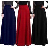 Women Long Gypsy High Waist Maxi Skirt Stretch Full Length Skirt Dress Plus Size