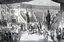 Booth Theater NYC 1871 WINTER'S TALE Trial of Hermione Antique Matted Art Print