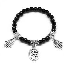 Round Black Crystal Ohm Hamsa Charm Protection Bracelet with Elastic Cord