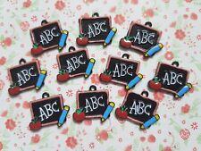 5pcs x ABC Apple Pencil Blackboard Enamel Alloy CHARM Pendants DIY Jewellery