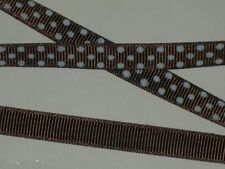 """polka dot grosgrain ribbon fabric polyester made in USA 100 yds x3/8"""" seal brown"""
