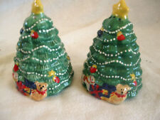 "SALE!!  SALT & PEPPER SHAKERS Christmas Tree and Toys 4"" Ceramic  NEW!   My Xmas"