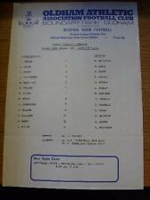 29/01/1991 Oldham Athletic Reserves v Barnsley Reserves  (Colour Single Sheet, F