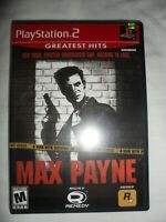 Max Payne (Playstation 2, 2001) PS2 Complete w/ Manual - Red Label