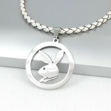 Silver Playboy Bunny Rabbit Animals Pendant 3mm Braided White Leather Necklace