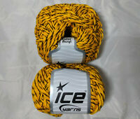 Color Acryl Yellow 57540 Ice Lot of 2 Skeins Acrylic 50g 109y