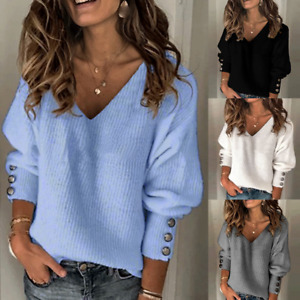 UK Womens Long Sleeve V-Neck Knitted Sweater Jumper Casual Pullover Tops Blouse