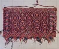 "Antique VTG  Sumac BAG Caucasian Turkoman Tribal 19"" x 34"" Fringe Geometric"