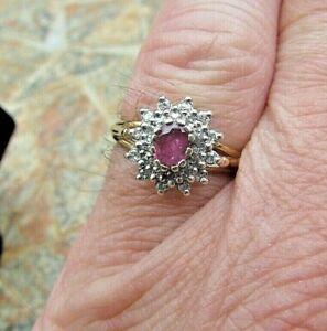 9ct Gold Ruby & 24 Diamond Cluster Ring -Size 'N 1/2' -H/M B'ham 1990/Good 4 Age